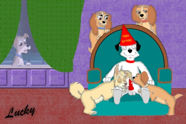 lucky rabbit ortensia and the oswald Dotty dog get along gang
